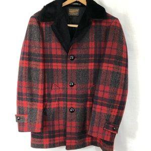 Pendleton wool jacket Sz M.  Red black plaid fur